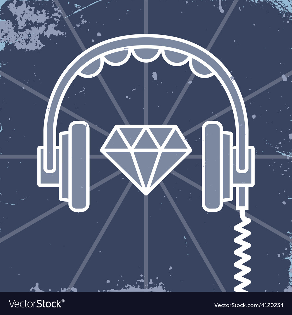 Headphones jewel icon vector | Price: 1 Credit (USD $1)