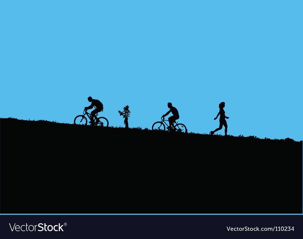 Mountain bikers vector | Price: 1 Credit (USD $1)