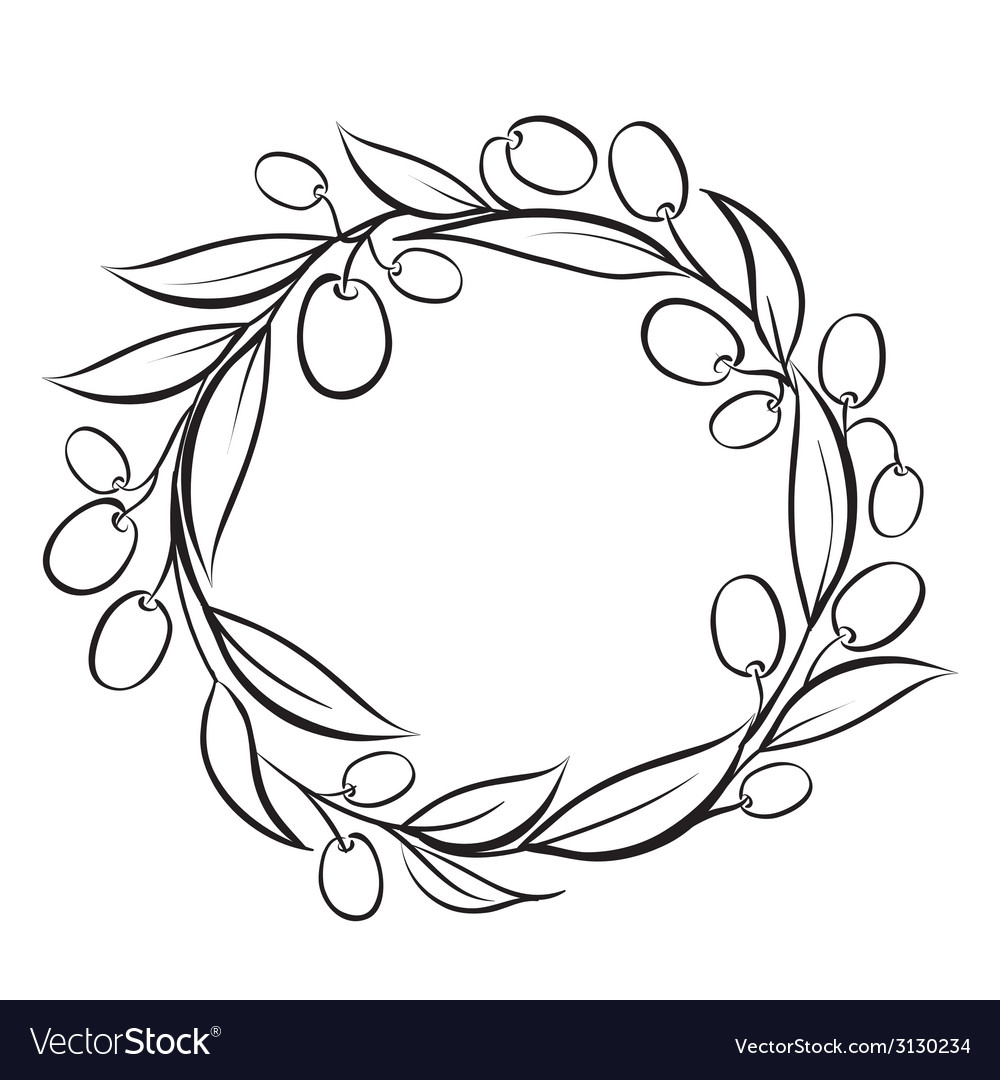 Olive wreath frame vector | Price: 1 Credit (USD $1)