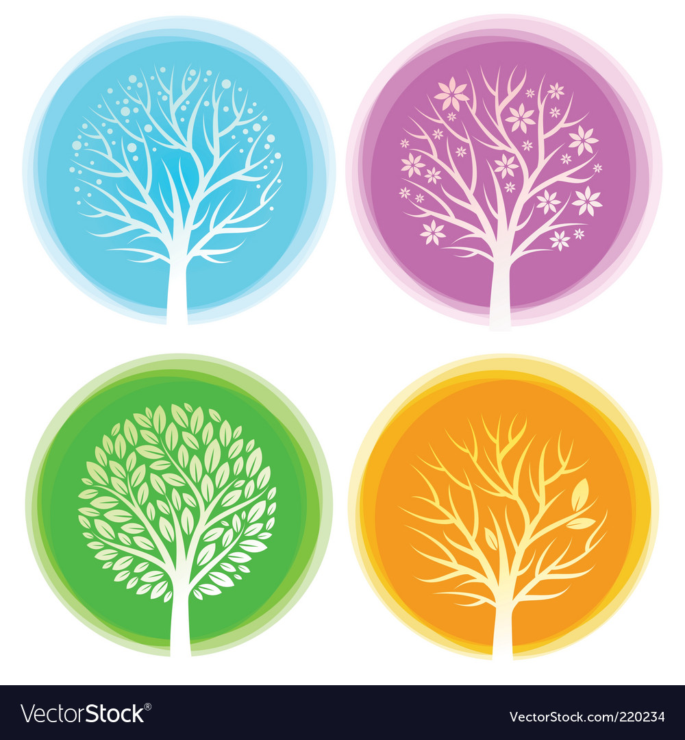 Seasons trees vector | Price: 1 Credit (USD $1)