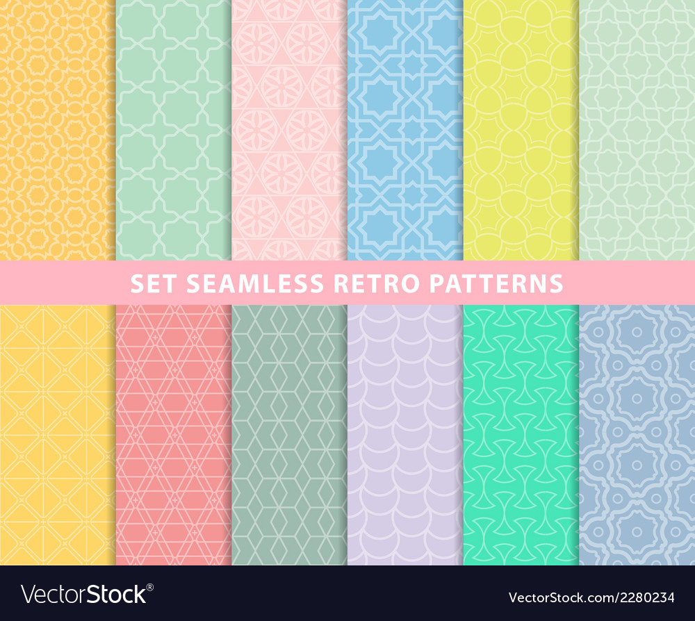 Set seamless retro patterns vector | Price: 1 Credit (USD $1)
