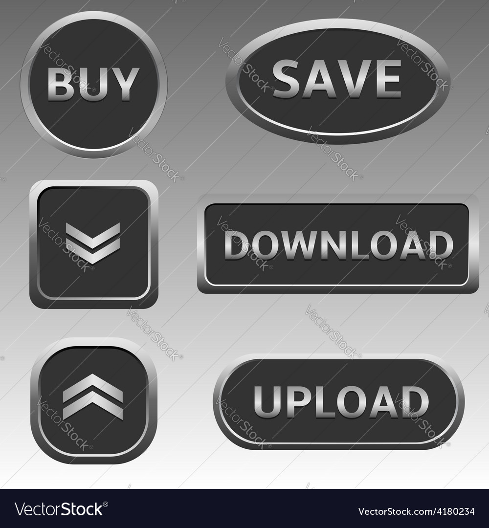 Silver web buttons vector | Price: 1 Credit (USD $1)