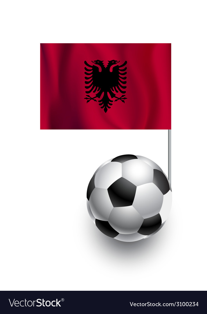 Soccer balls or footballs with flag of albania vector | Price: 1 Credit (USD $1)