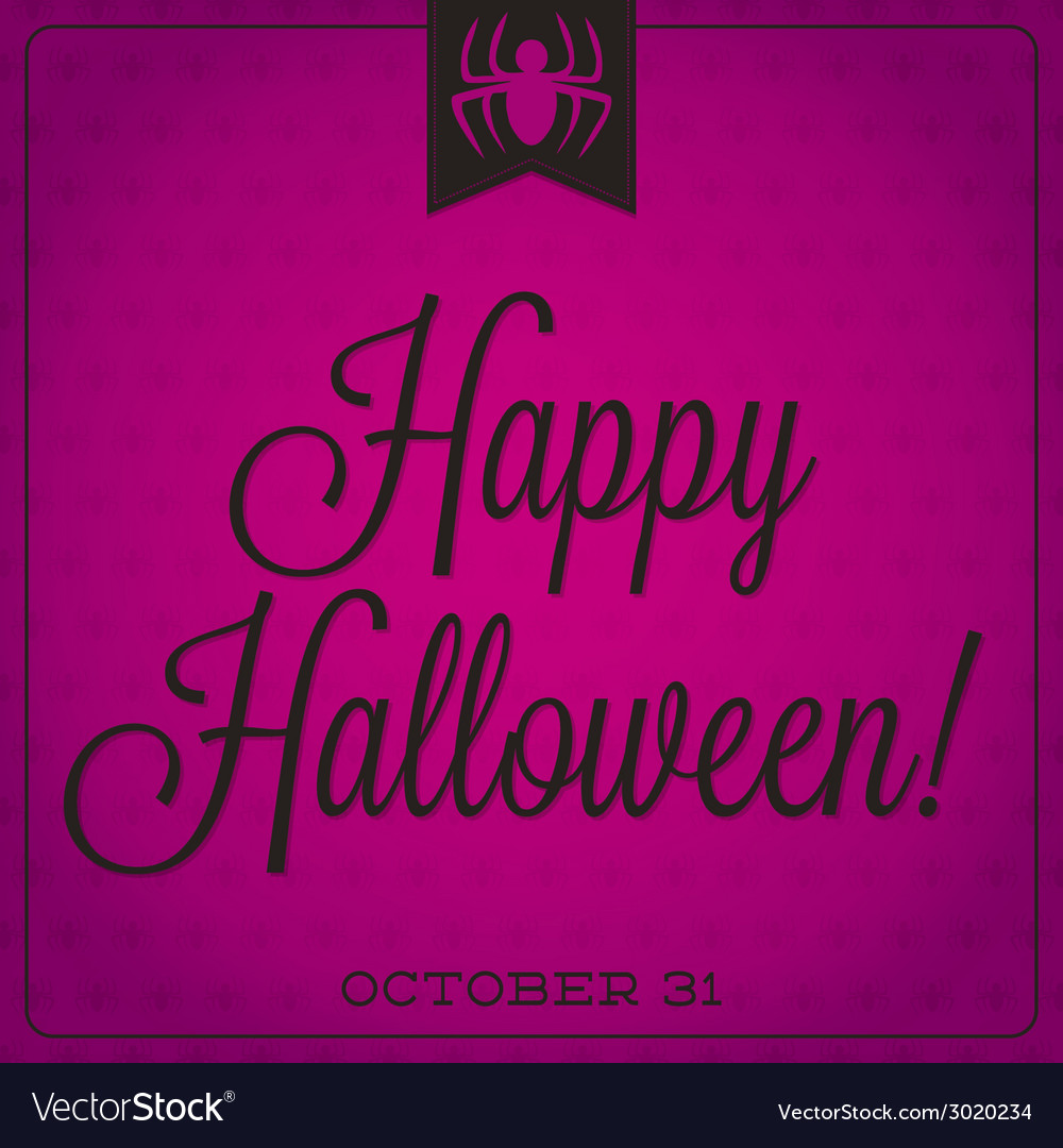 Spider retro typographic halloween card vector | Price: 1 Credit (USD $1)