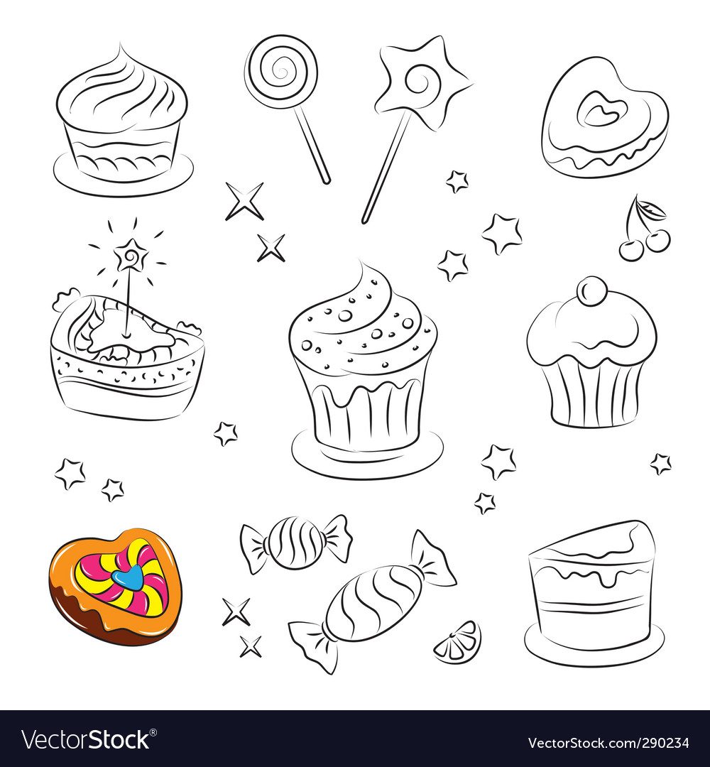 Sweets and cakes icons vector | Price: 1 Credit (USD $1)