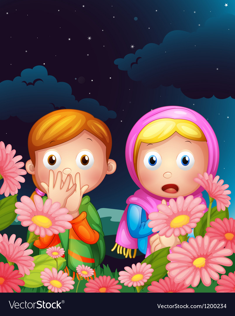 Two girls hiding in the middle of the night vector | Price: 1 Credit (USD $1)