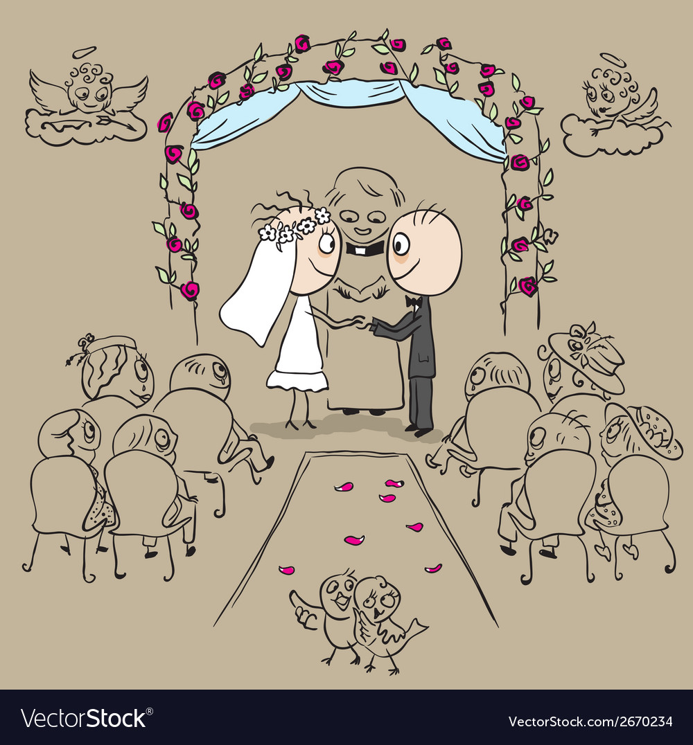 Wedding ceremony in church vector | Price: 1 Credit (USD $1)