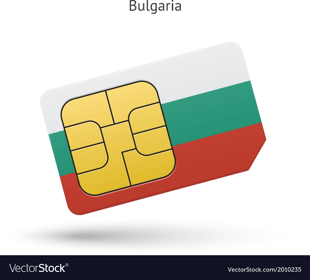 Bulgaria mobile phone sim card with flag vector | Price: 1 Credit (USD $1)