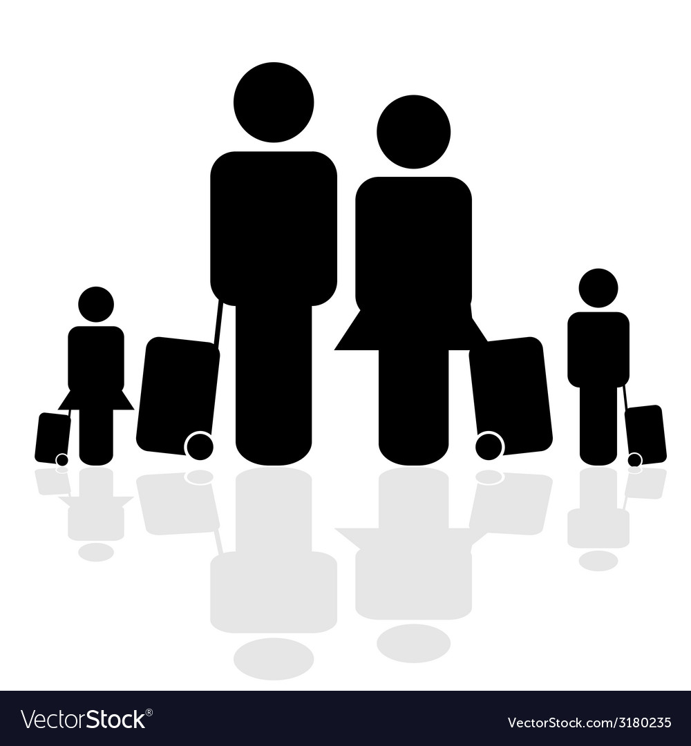 Family travel icon vector | Price: 1 Credit (USD $1)