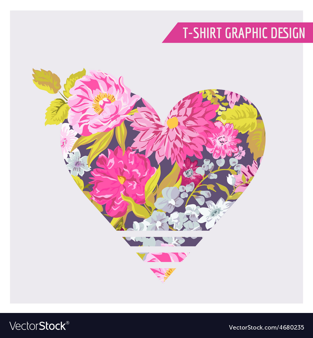 Floral heart graphic design - for t-shirt fashion vector | Price: 1 Credit (USD $1)