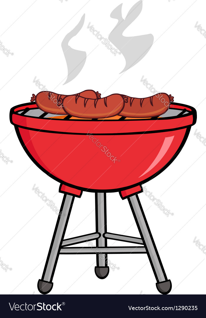 Grilled sausages on barbecue vector | Price: 1 Credit (USD $1)