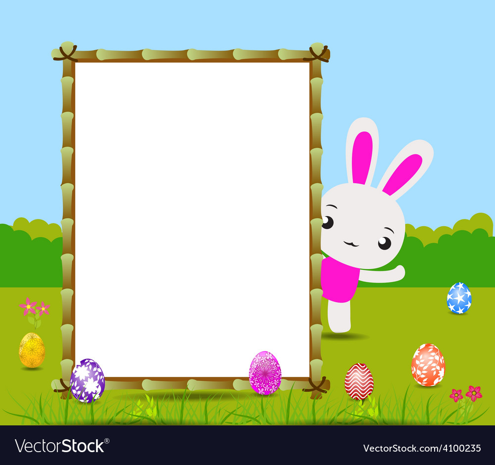 Happy easter card with eggs and rabbits nearby vector | Price: 1 Credit (USD $1)