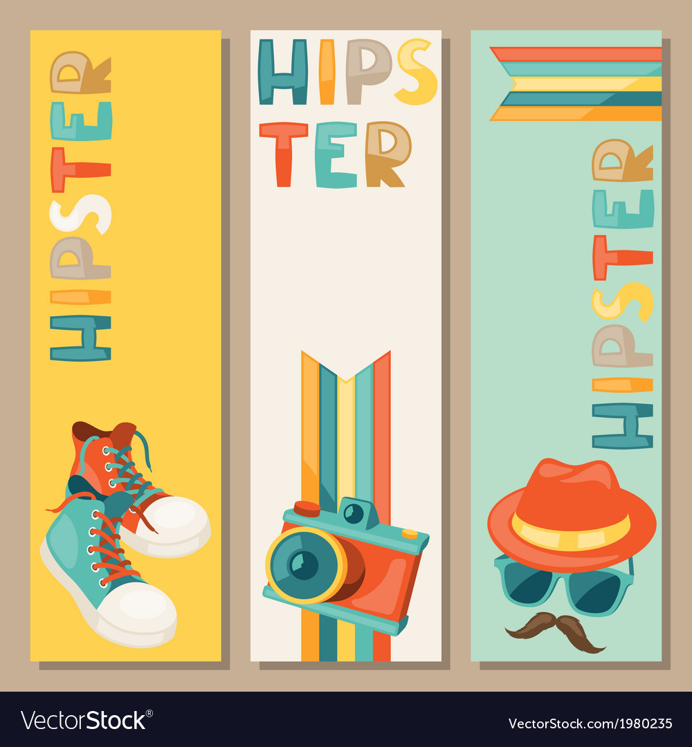 Hipster style vertical banners vector | Price: 1 Credit (USD $1)