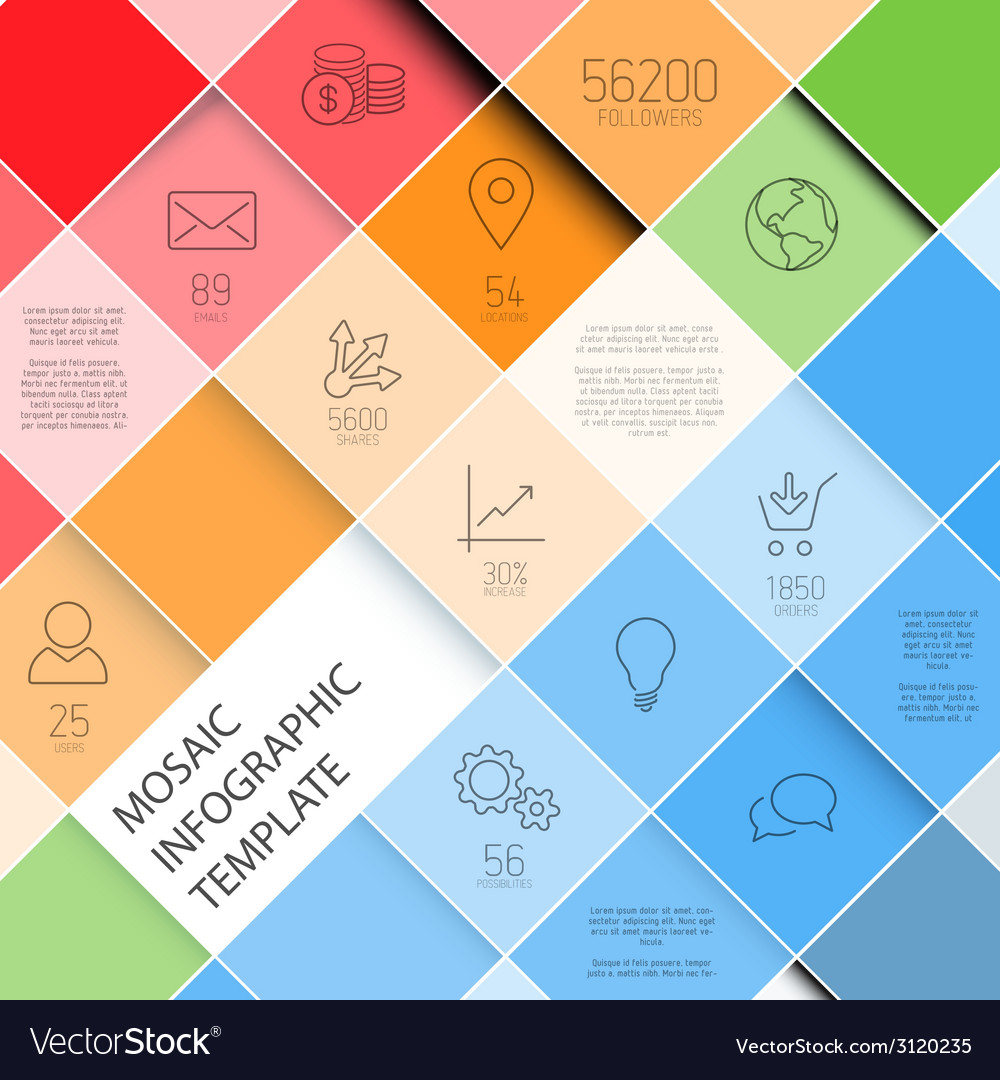 Mosaic infographic template - pastel colors vector | Price: 1 Credit (USD $1)