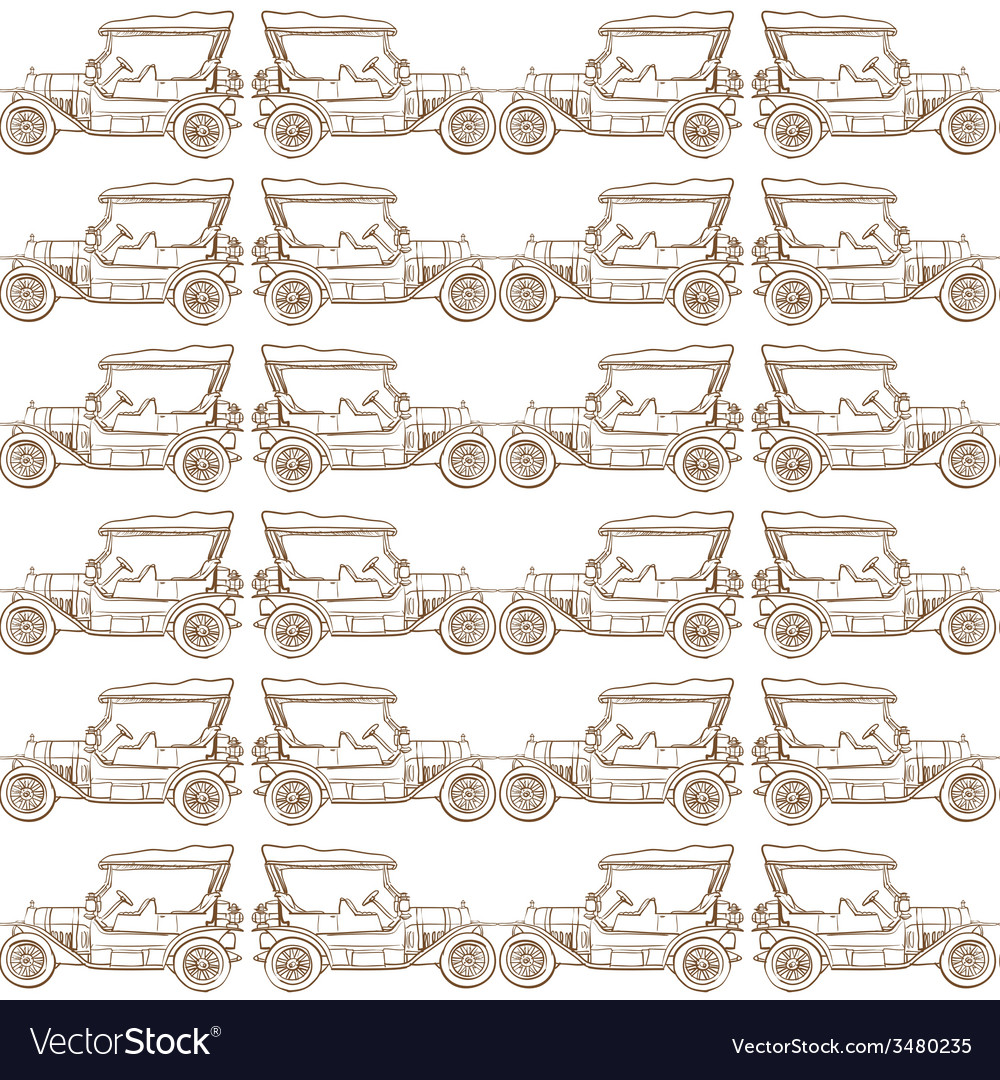 Seamless pattern of old vintage car vector   Price: 1 Credit (USD $1)