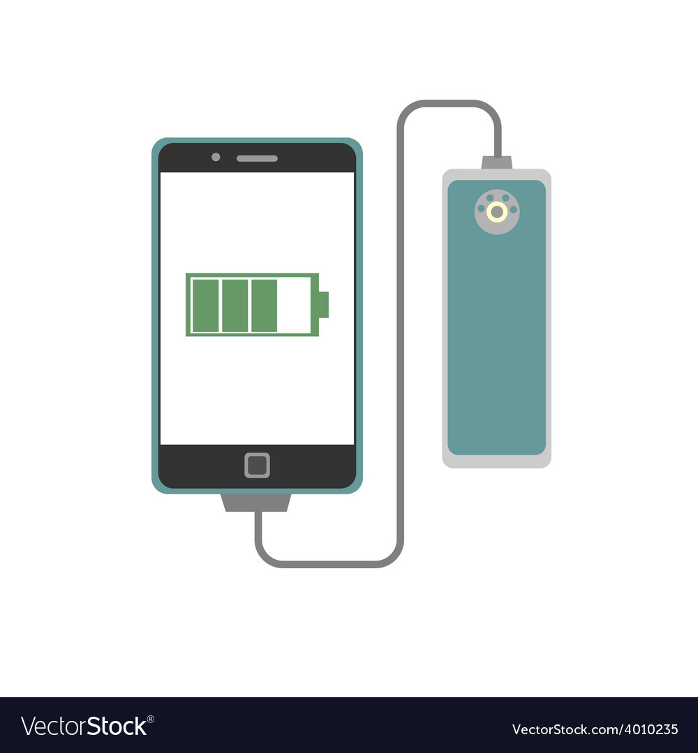 Smartphone charging with powerbank vector | Price: 1 Credit (USD $1)