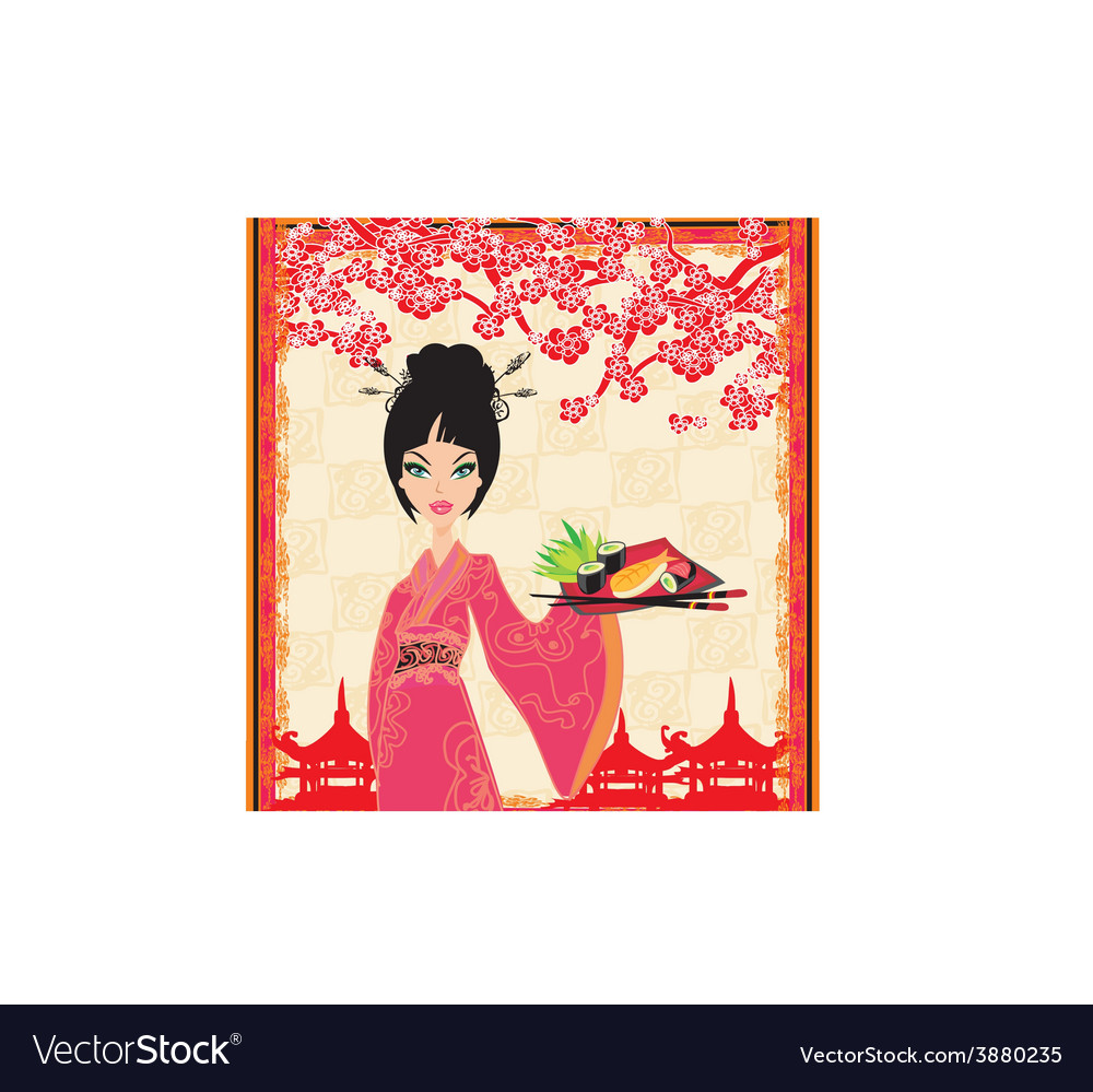 Traditional japanese pretty girl serves sushi vector | Price: 1 Credit (USD $1)