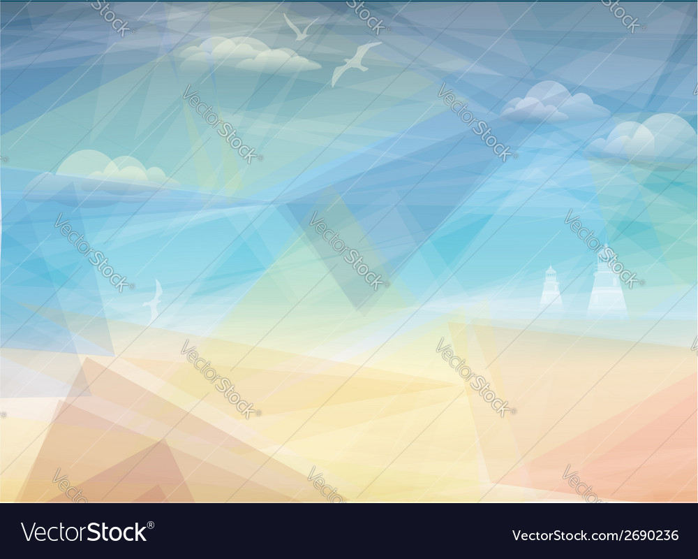 Beautiful seaside view poster background vector | Price: 1 Credit (USD $1)
