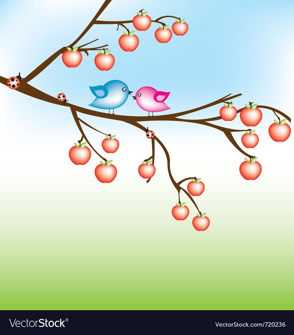 Bird on apple tree vector | Price: 1 Credit (USD $1)