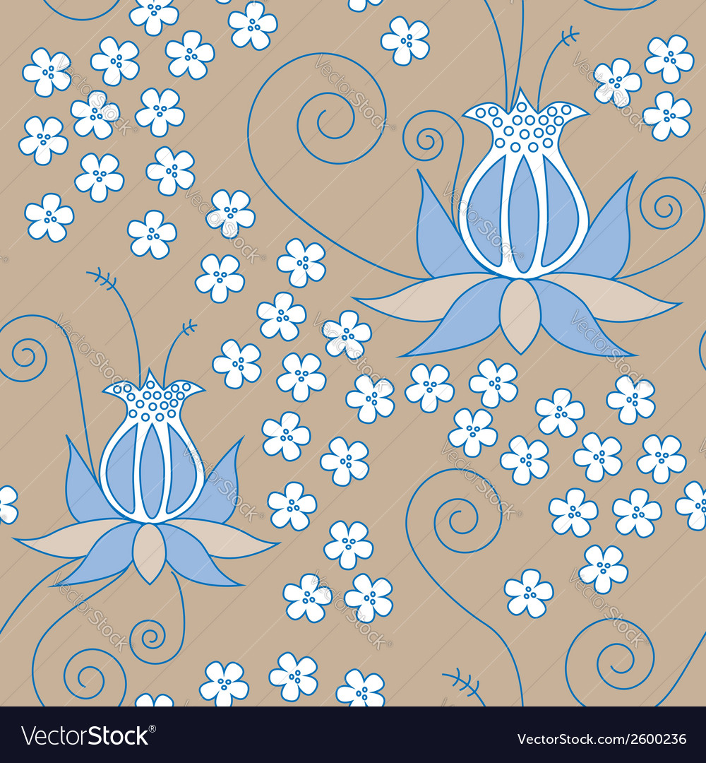 Blue flower seamless vector | Price: 1 Credit (USD $1)