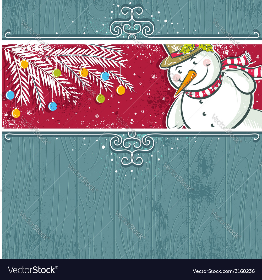 Christmas background with snowman vector | Price: 1 Credit (USD $1)
