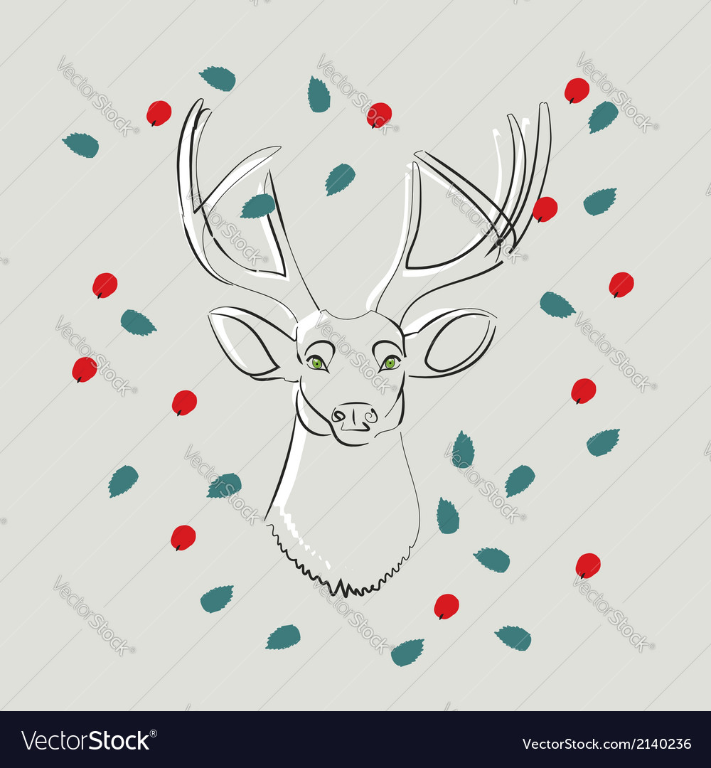 Deer with green eyes with leaves and berries vector | Price: 1 Credit (USD $1)