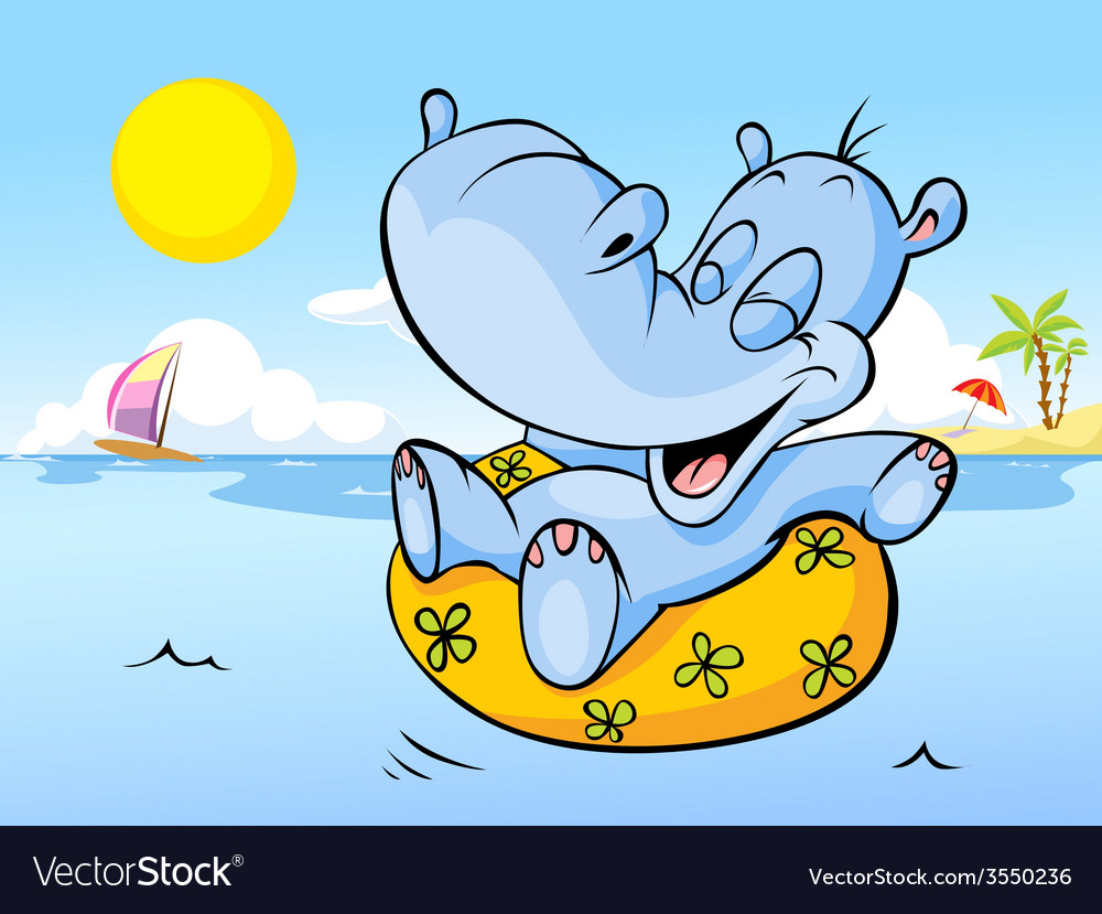 Happy hippo swim in sea - holiday greetin vector | Price: 1 Credit (USD $1)