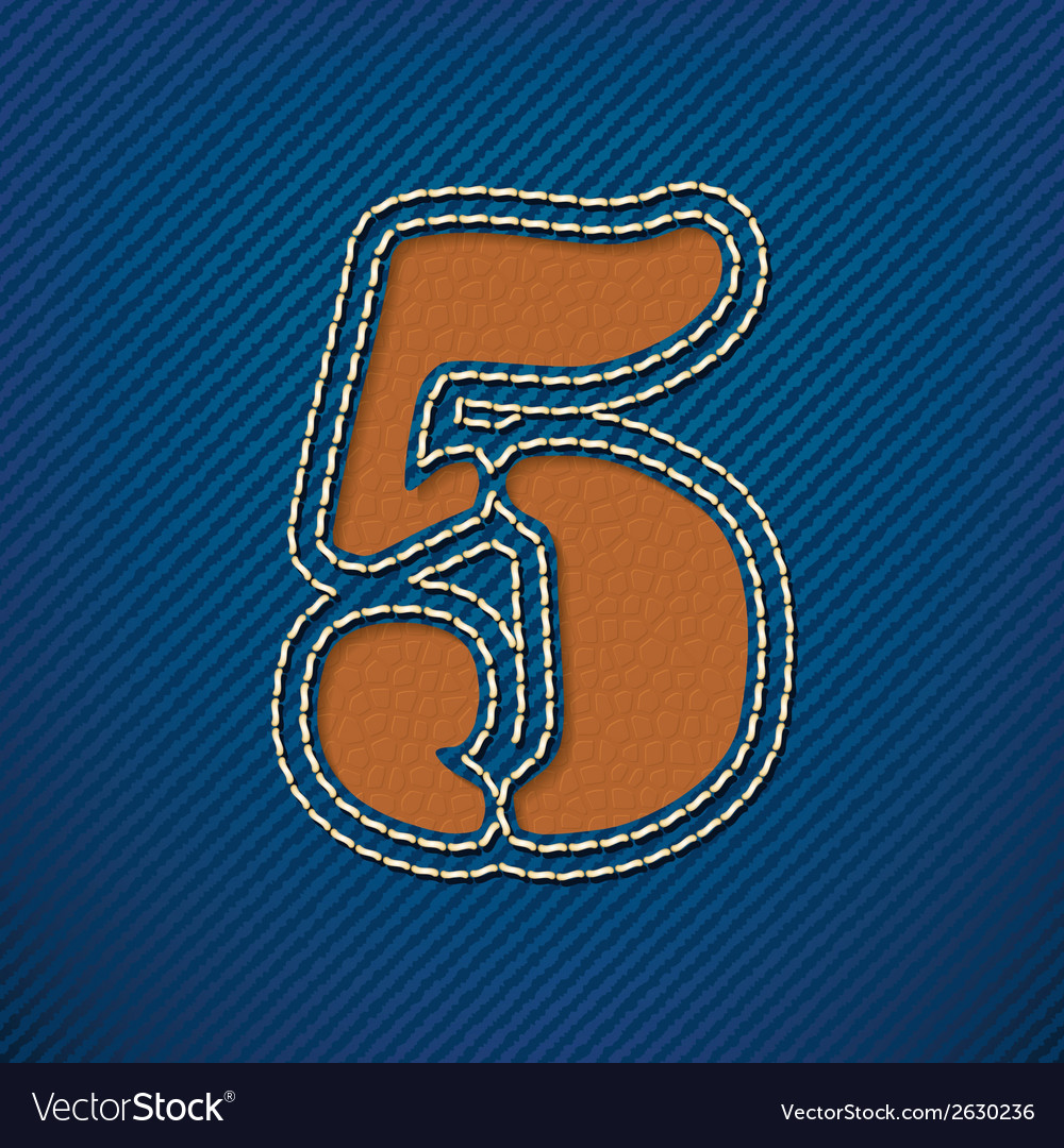 Number 5 made from leather on jeans background vector | Price: 1 Credit (USD $1)