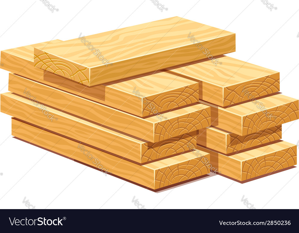 Pile of wooden timber planks vector