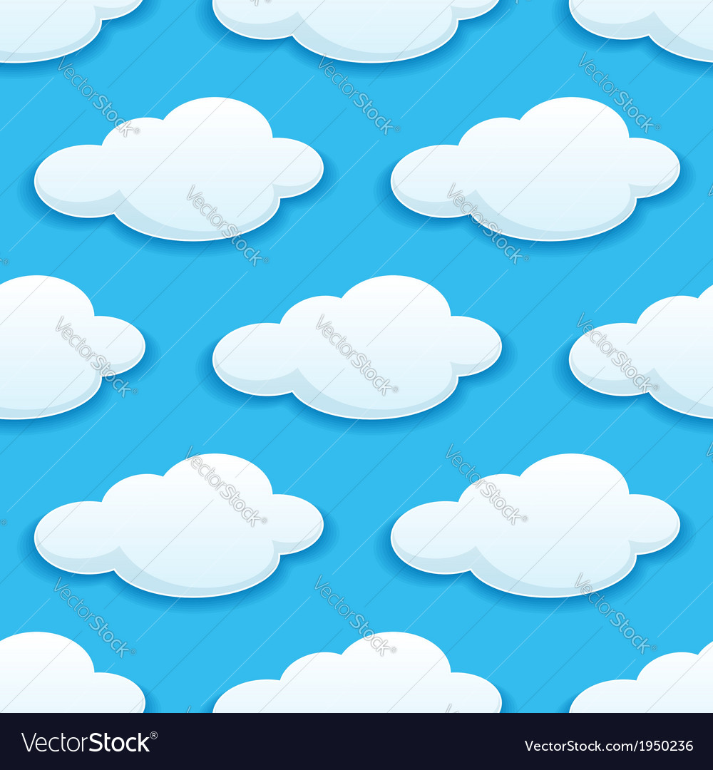 Seamless pattern of white fluffy clouds vector | Price: 1 Credit (USD $1)