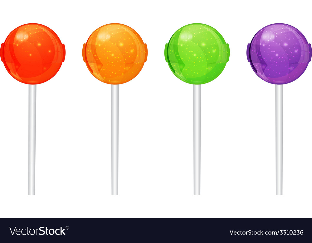 Set of colorful candy on a stick vector   Price: 1 Credit (USD $1)