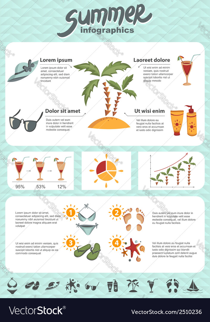Summer infographics elements vector | Price: 1 Credit (USD $1)