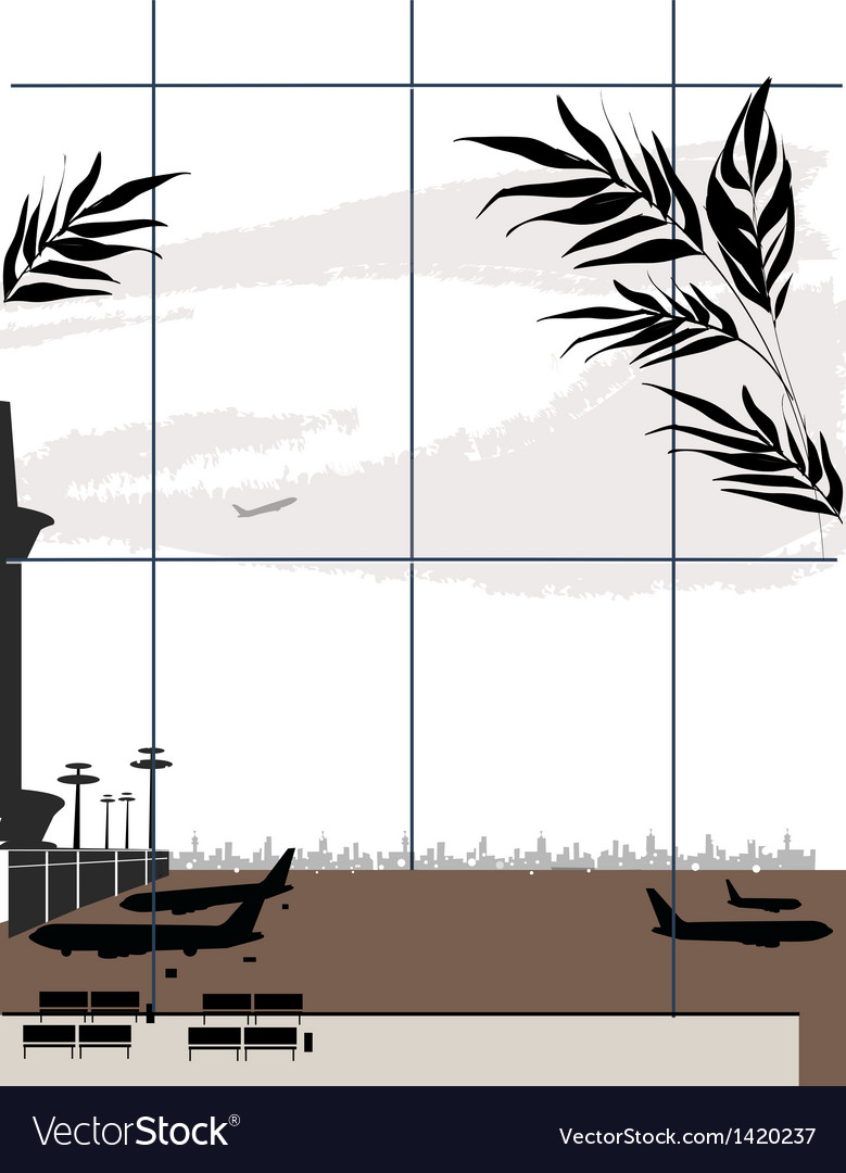 Airport window view vector | Price: 1 Credit (USD $1)