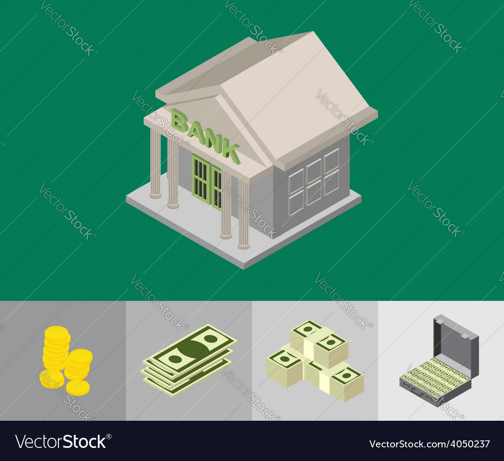 Bank isometric icons vector | Price: 1 Credit (USD $1)