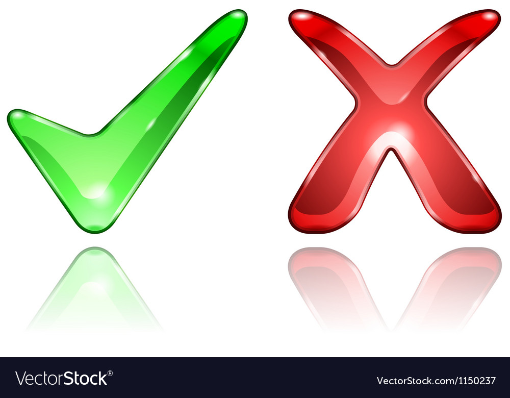 Check and cross mark icons vector
