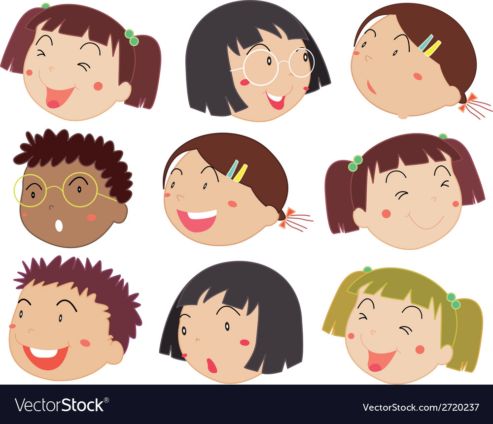 Children faces vector | Price: 1 Credit (USD $1)