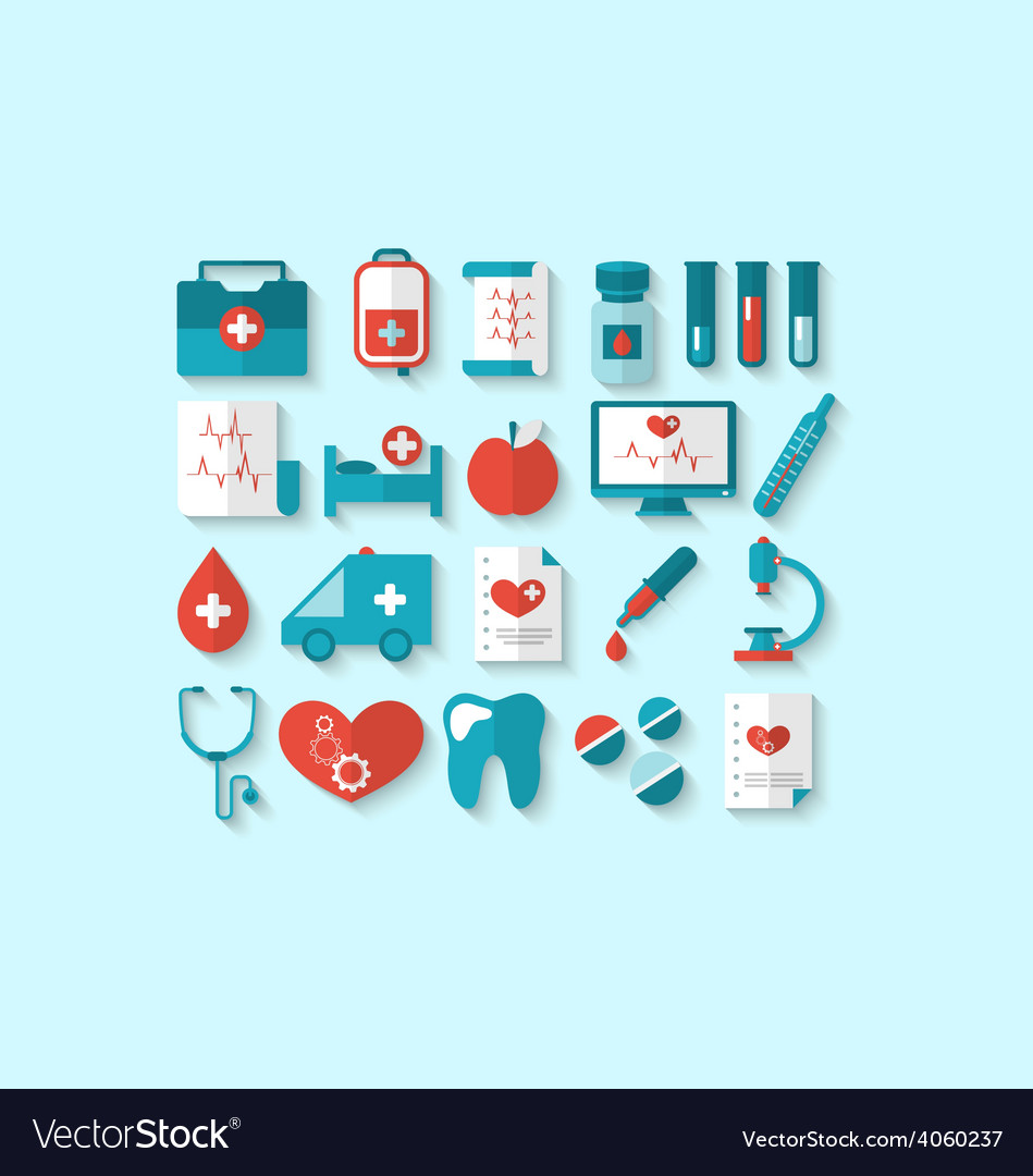 Collection modern flat icons of medical elements vector | Price: 1 Credit (USD $1)