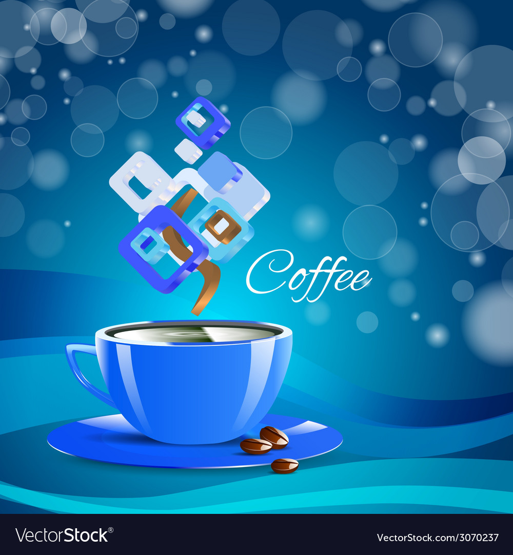 Cream coffee blue cup cappuccino drink vector | Price: 1 Credit (USD $1)