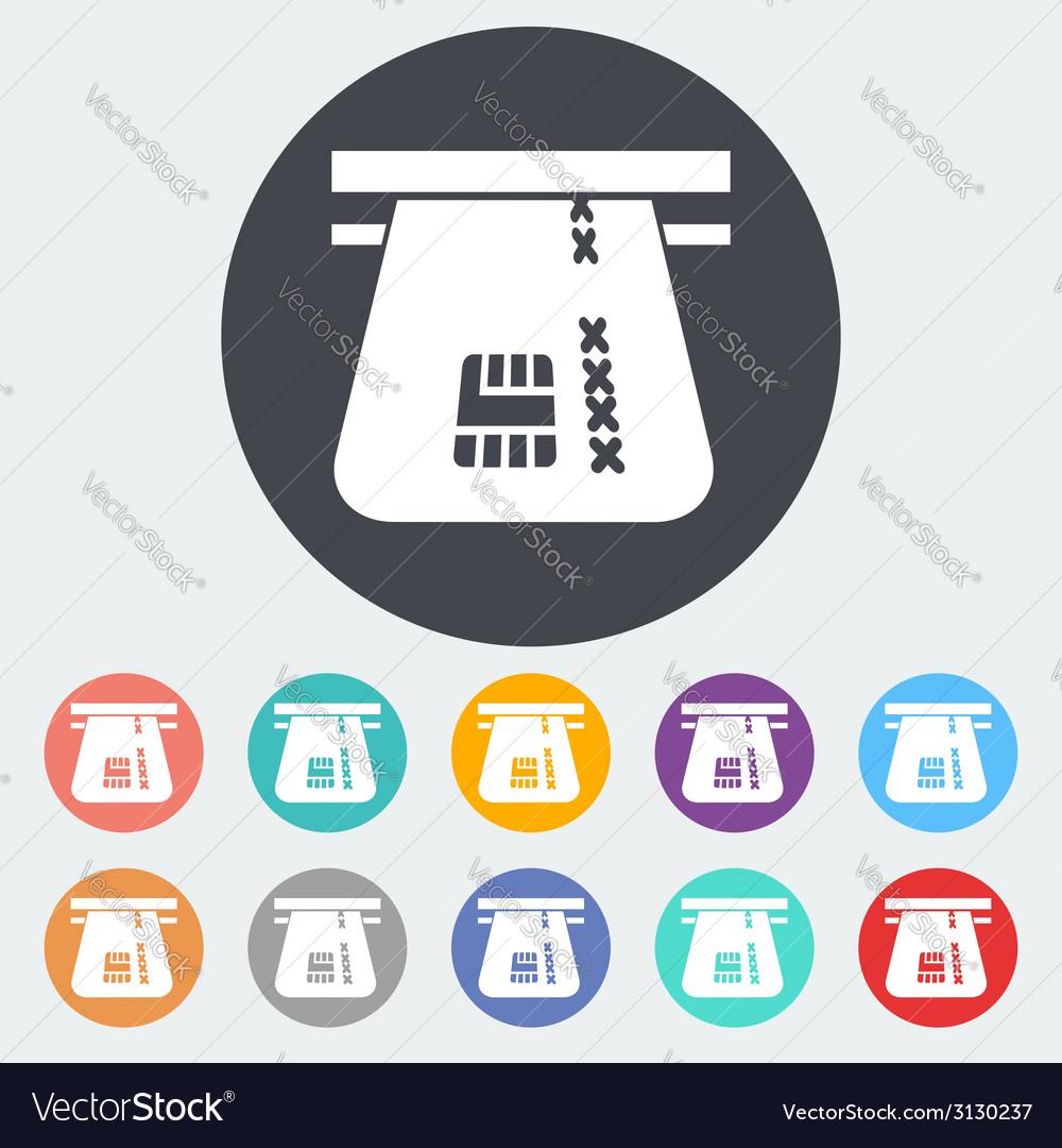 Credit card single flat icon vector | Price: 1 Credit (USD $1)