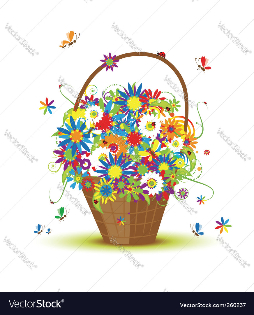 Flower basket vector | Price: 1 Credit (USD $1)