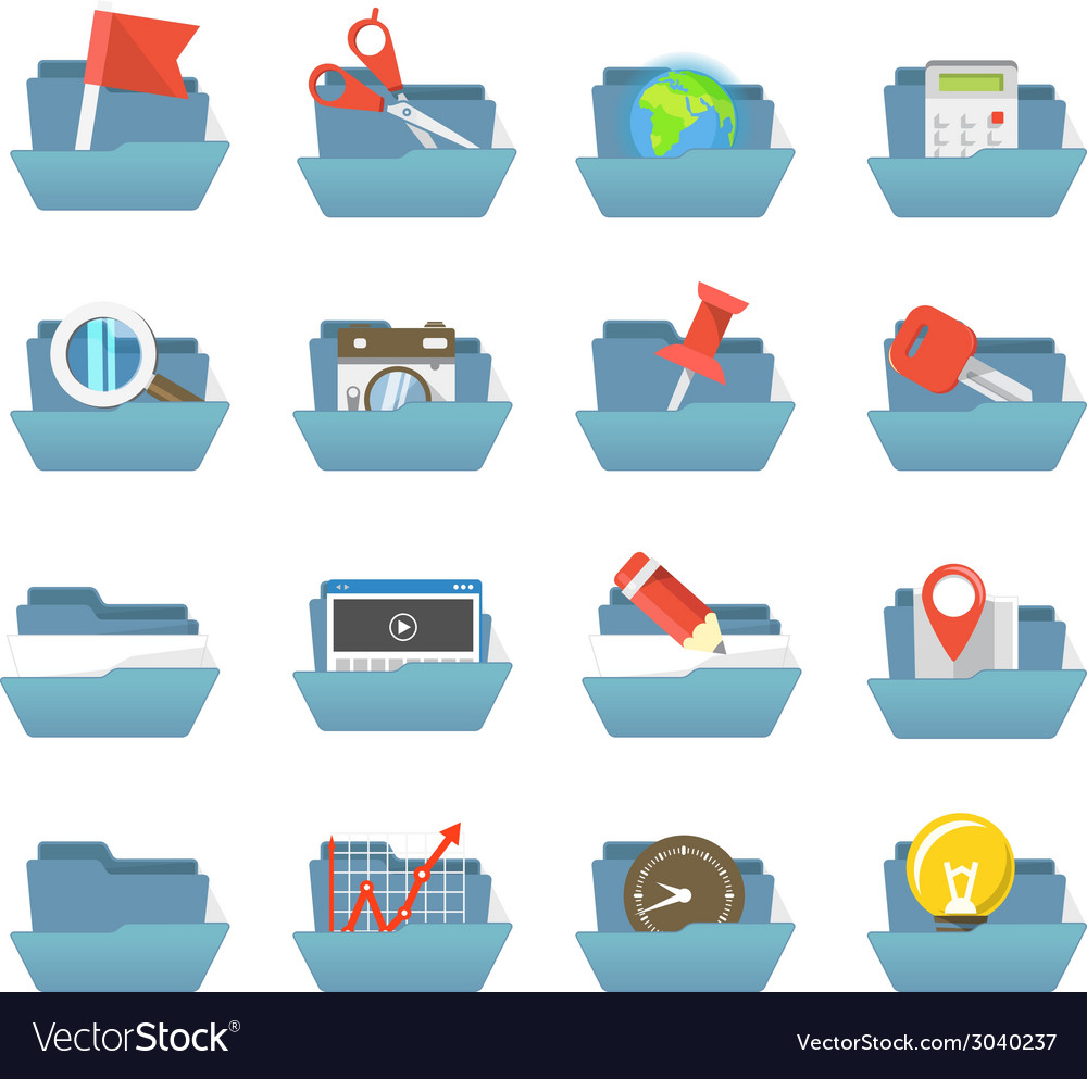Folders collection with different content vector | Price: 1 Credit (USD $1)