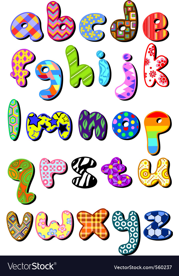Patterned lower case alphabet vector | Price: 1 Credit (USD $1)