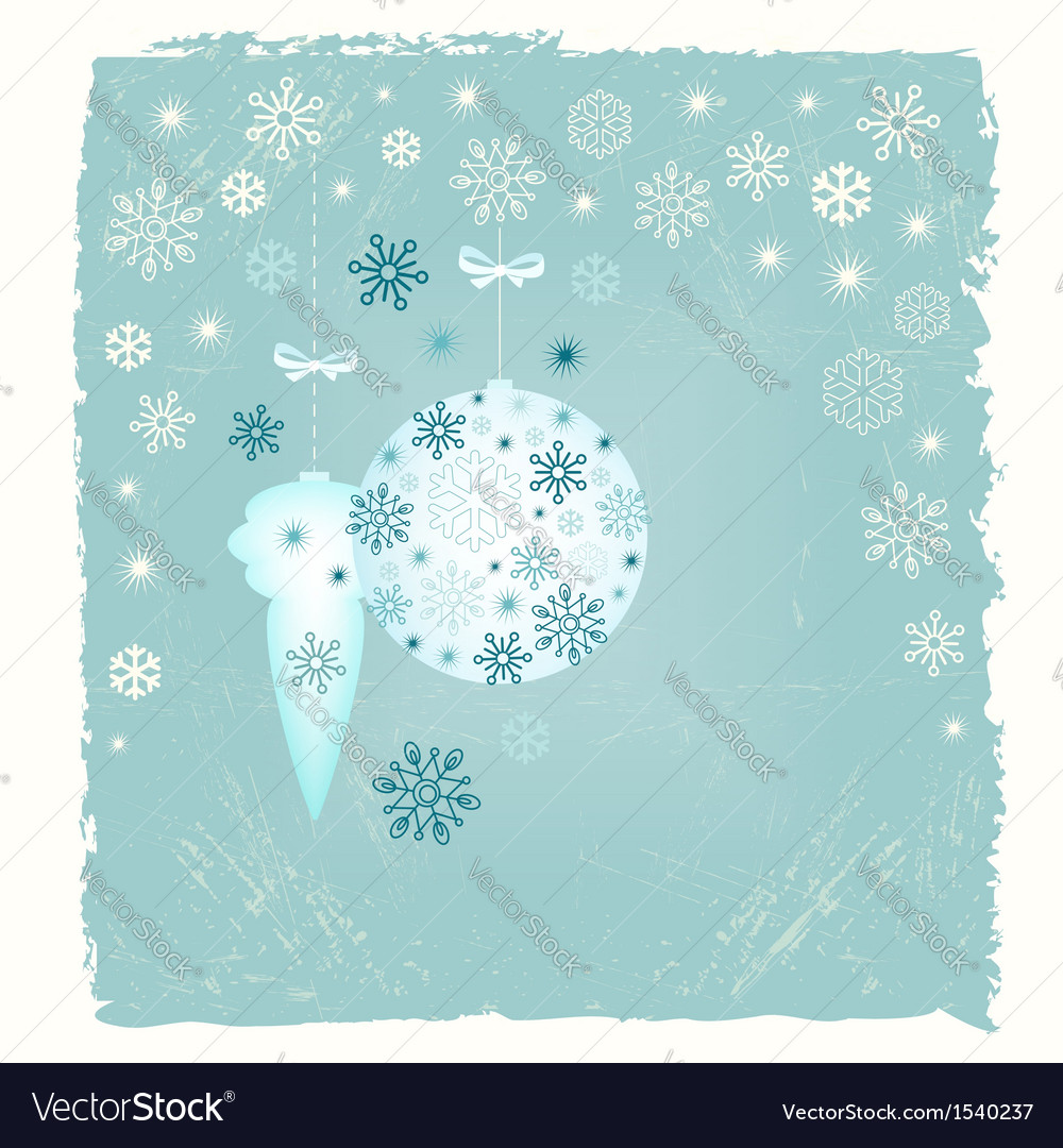 Retro new year card with snowflakes vector | Price:  Credit (USD $)
