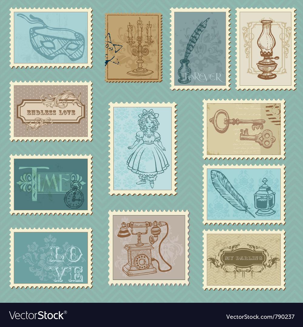 Retro postage stamps vector | Price: 1 Credit (USD $1)