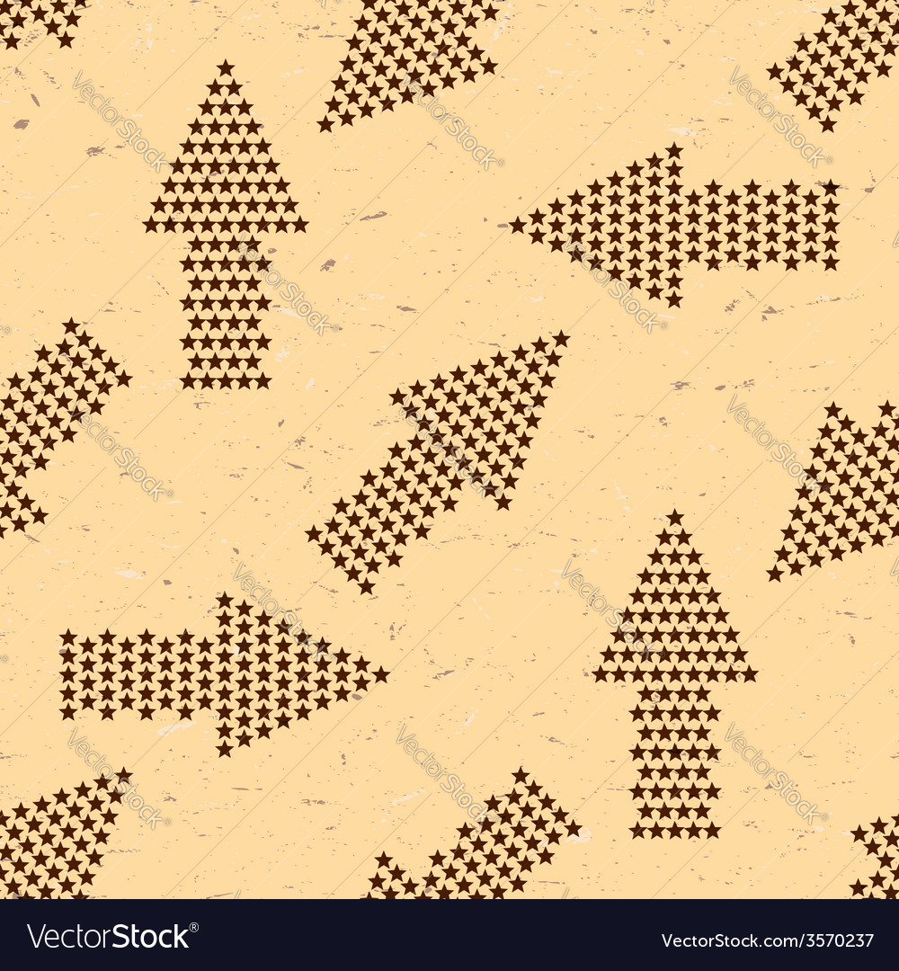 Seamless pattern with vintage arrows made of stars vector | Price: 1 Credit (USD $1)
