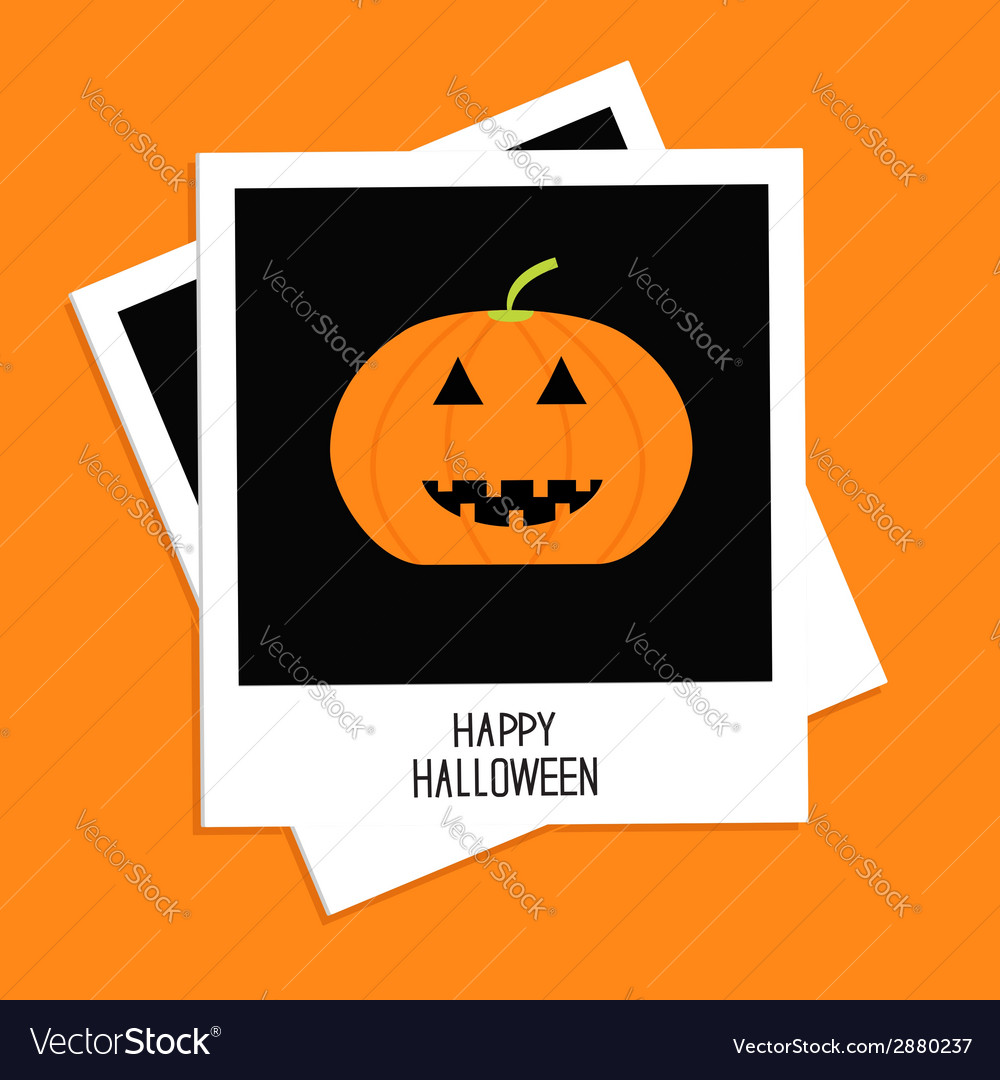 Two instant photos with pumpkin happy halloween vector | Price: 1 Credit (USD $1)
