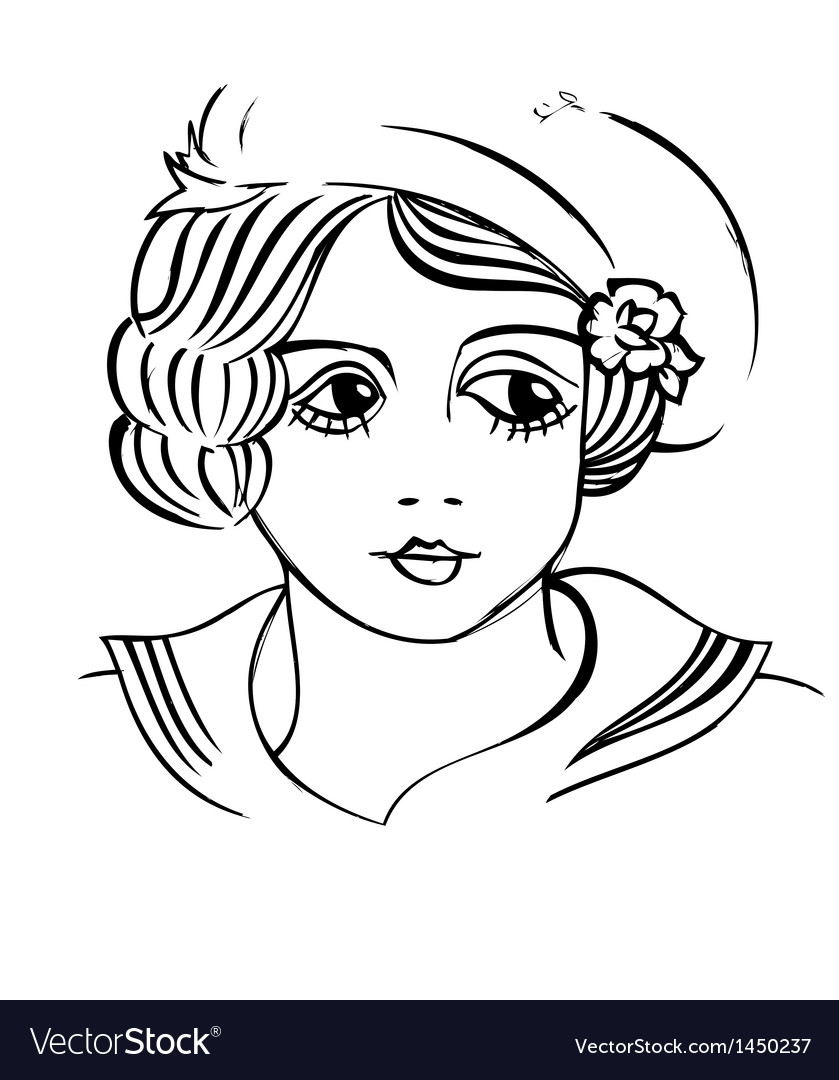 Vintage girl vector | Price: 1 Credit (USD $1)