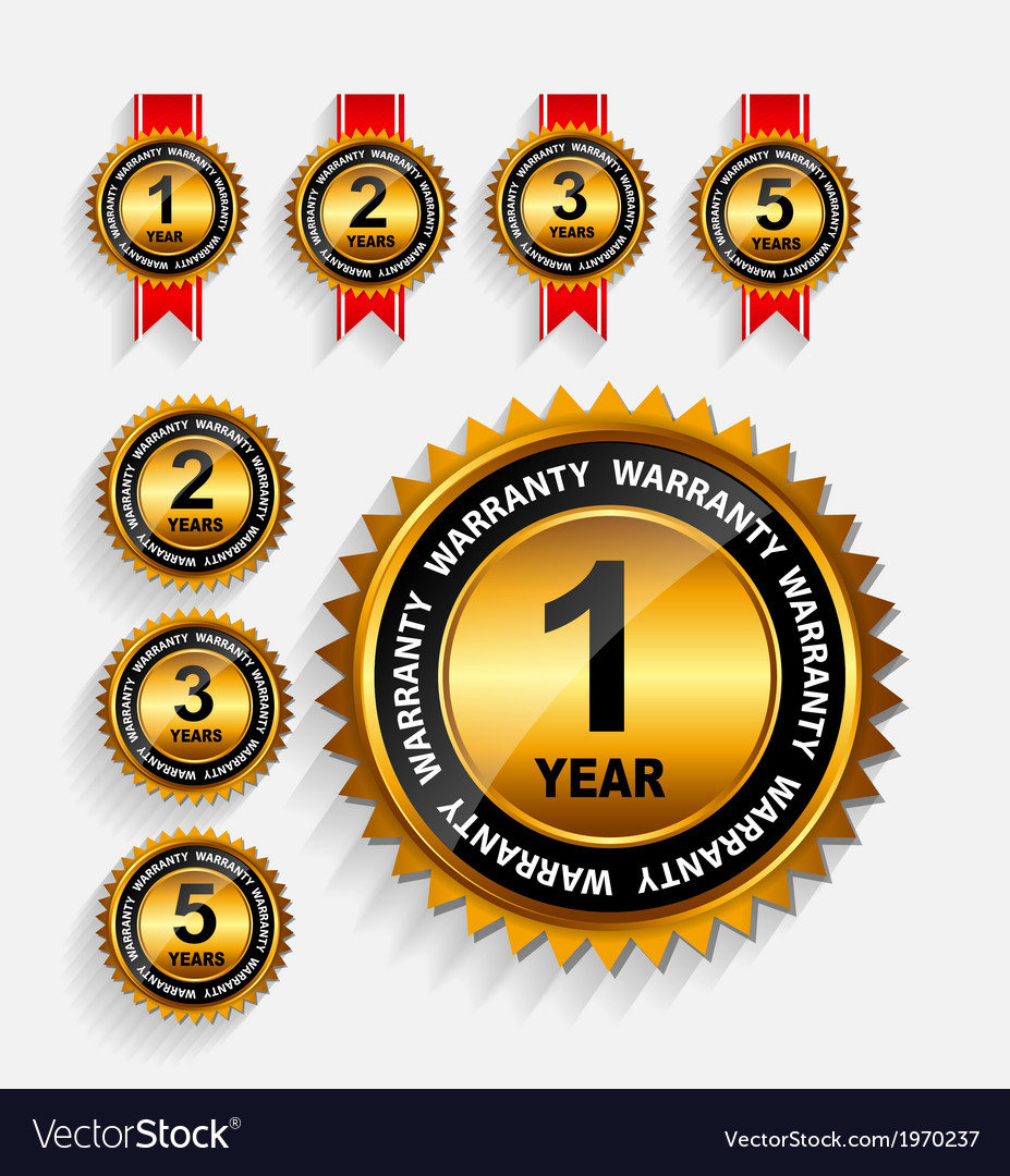 Warranty gold label set with red ribbon vector | Price: 1 Credit (USD $1)