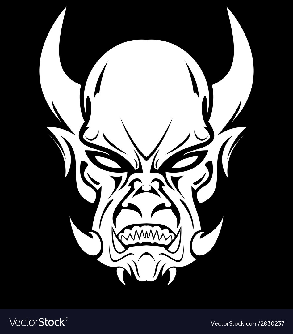 White demon face vector | Price: 1 Credit (USD $1)