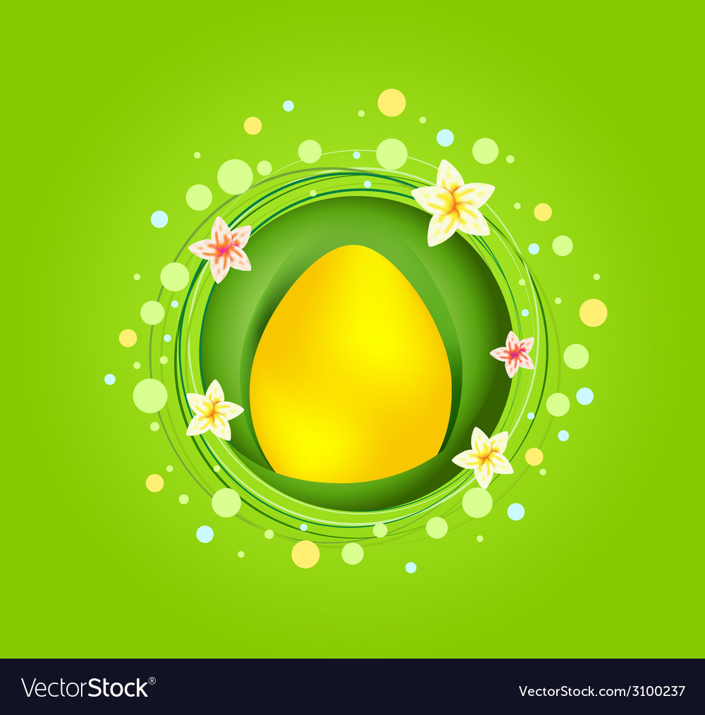 Yellow easter egg with spring element card vector   Price: 1 Credit (USD $1)